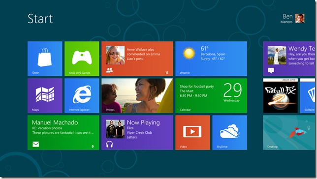 Der neue Windows 8 Consumer Preview Start Screen